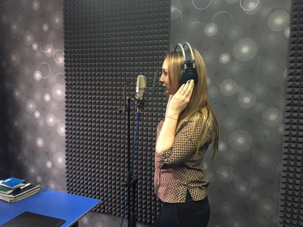 "Record track. Agata Kharolskaya at the ""You records 16"" studio"