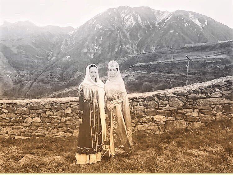 """Alla Boychenko: """"Thank you to my most beautiful Balkar beauties, Madina Kochkarova and Angela Zhaboeva, who so steadfastly endured the mountain cold and decorated the clip with themselves. The girls wear national Balkar dresses of the IXX century. """""""
