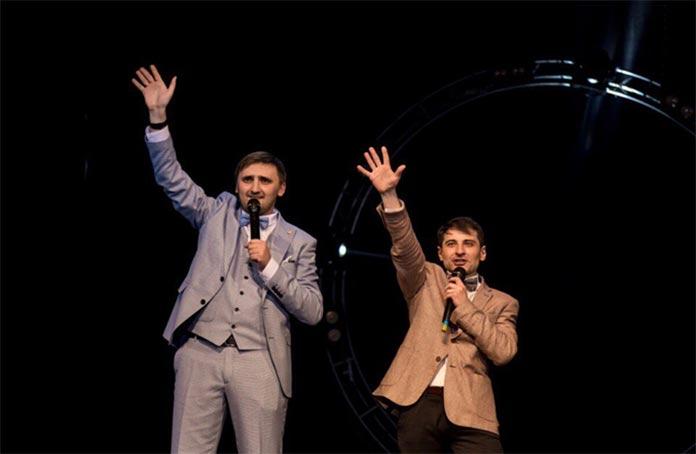 Presenters of the concert Akhmat Teppeev and Slavik Thamitlokov