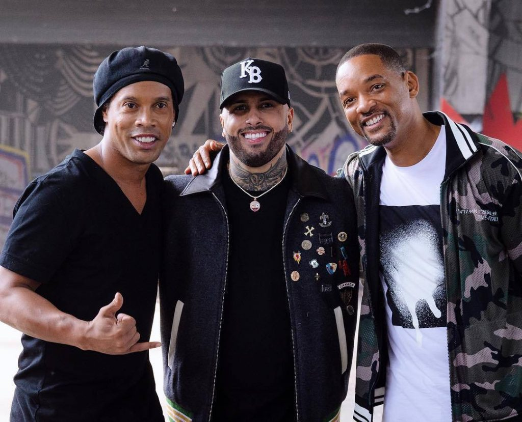 Video participants: Ronaldinho, Nicky Jam, Will Smith. Photo courtesy of the official account https://www.instagram.com/willsmith/