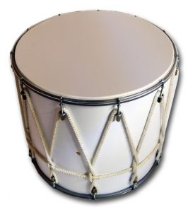 Caucasian drum has a network of intertwined ropes that tighten the upper and lower membranes to each other