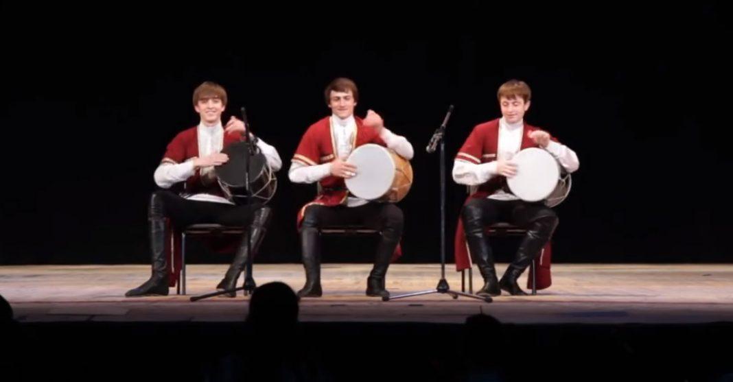 Musical instruments of the peoples of the Caucasus. Caucasian drum and Caucasian accordion.