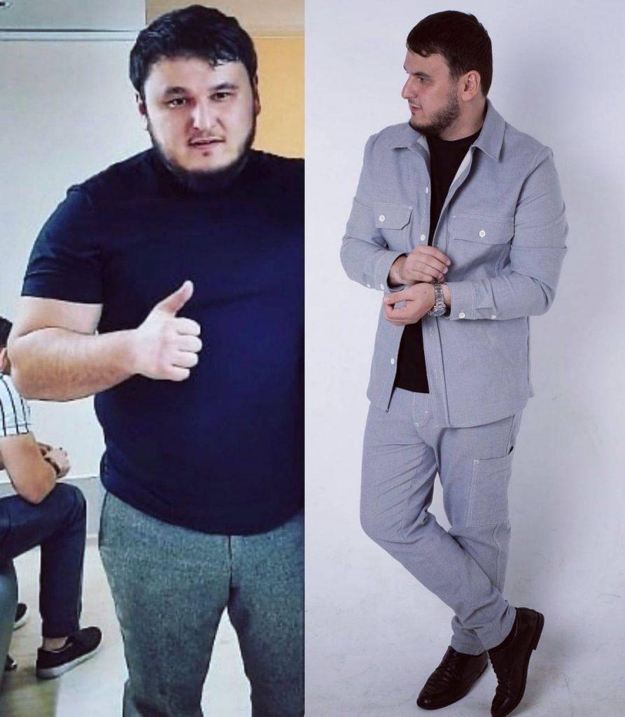 С помощью упорной работы над собой, Рустаму Нахушеву @r.nahushev удалось сбросить вес с 136 кг до 95 кг