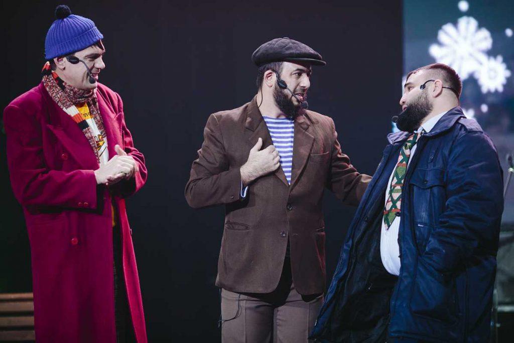 """Caucasian Express"" in Moscow. Humorous trio from Grozny: Askhab Dzhabrailov, Rudolf Mishaev, Vahid Ismailov."