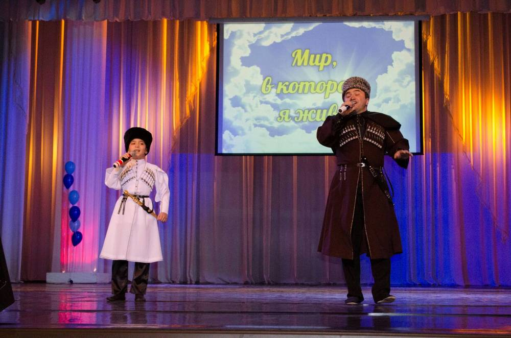 "At the concert ""The World I Live In"", Ruslan Kaitmesov and his son Chinaz performed"