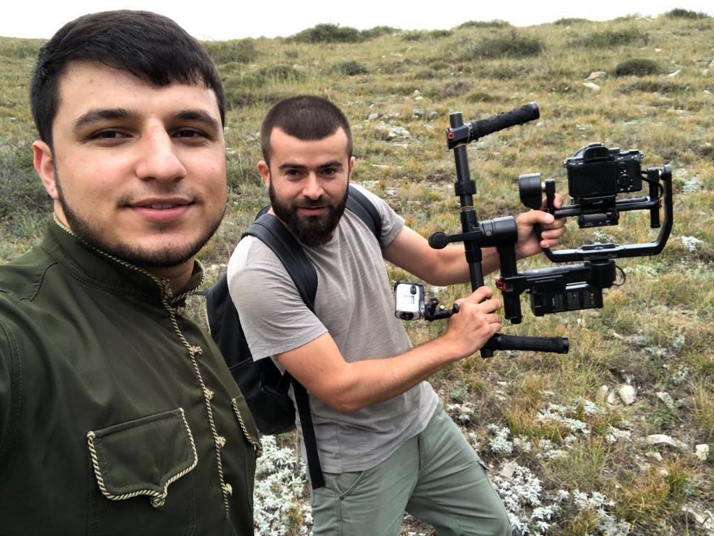 "Isa Esambaev and Ibra Ozdayev on the set of the video ""Mawlaya"""