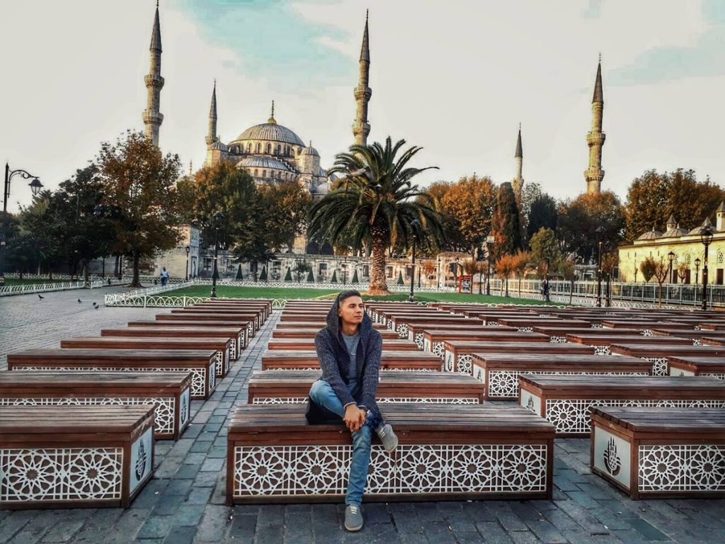Islam Satyrov in the intervals between concerts in Turkey. Istanbul, 2019 year